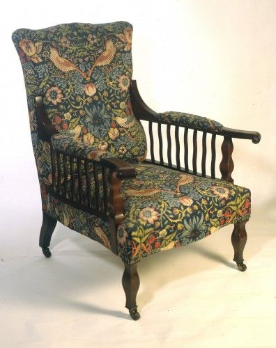 'Saville' armchair (c.1890) Made of Mahogany and Calico Dimensions are: 91.4 x 66.0 x 60.9 cm