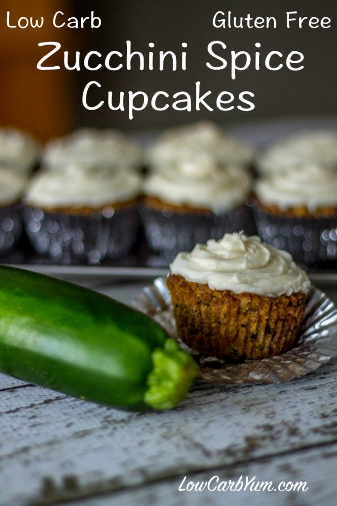 This zucchini spice cupcakes recipe is sugar free, low carb, and gluten free. The spice cake is topped with a stevia sweetened cream cheese frosting.
