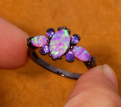 Pink Fire Opal & Amethyst Ring Full of Goddess Fire and Elegance! FREE SHIPPING! Pink Opal: A Heart Chakra stone that is especially noted for its energies #opalsaustralia