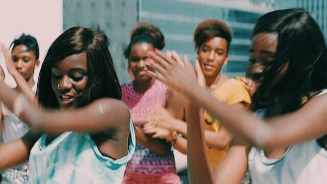 "Still from Céline Sciamma's new film ""Girlhood,"" a coming of age story of about a teenage girl (of West African descent) named Marieme living in the projects of Paris with many hardships, who then finds herself and her confidence when she becomes friends with a group of confident girls."