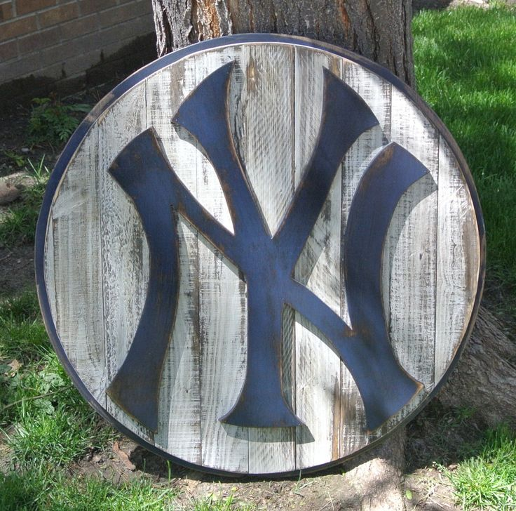 "New York Yankees baseball logo, rustic reclaimed distressed weathered wood, custom, man cave, sports bar, NYC, Alex Rodriguez, Arod, MLB by CraigMoodieDesigns on Etsy  Artist: ""I can do ANY team so message me on etsy if you want a cardinals or Sox or Giants logo! I already do Rockies and Cubs as well!"""