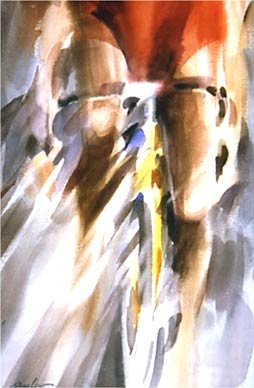 """Cyclists in Red"" by Doug Lew. 20"" x 14"" Watercolor Original. Red shirt, firm grip on the handlebars, knees pumping, heart thumping...chasing or being chased? Info: http://www.spiritofsports.com/product/CCL-A-01477/Cyclists_in_Red"