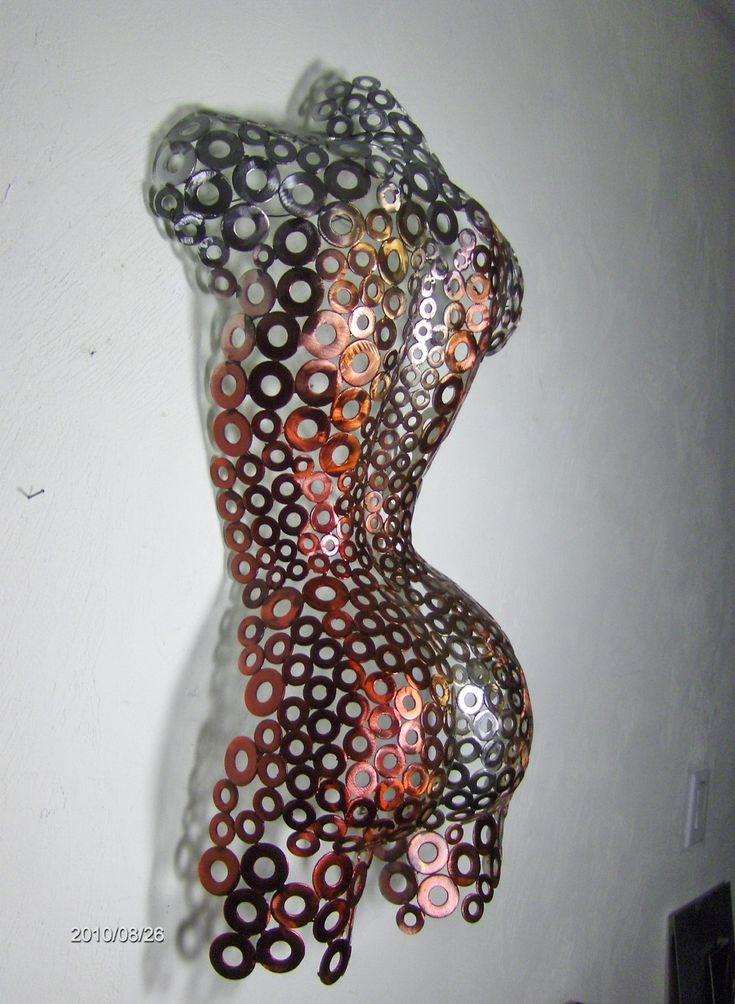 Metal Wall art sculpture abstract torso by Holly Lentz. $329.00, via Etsy.