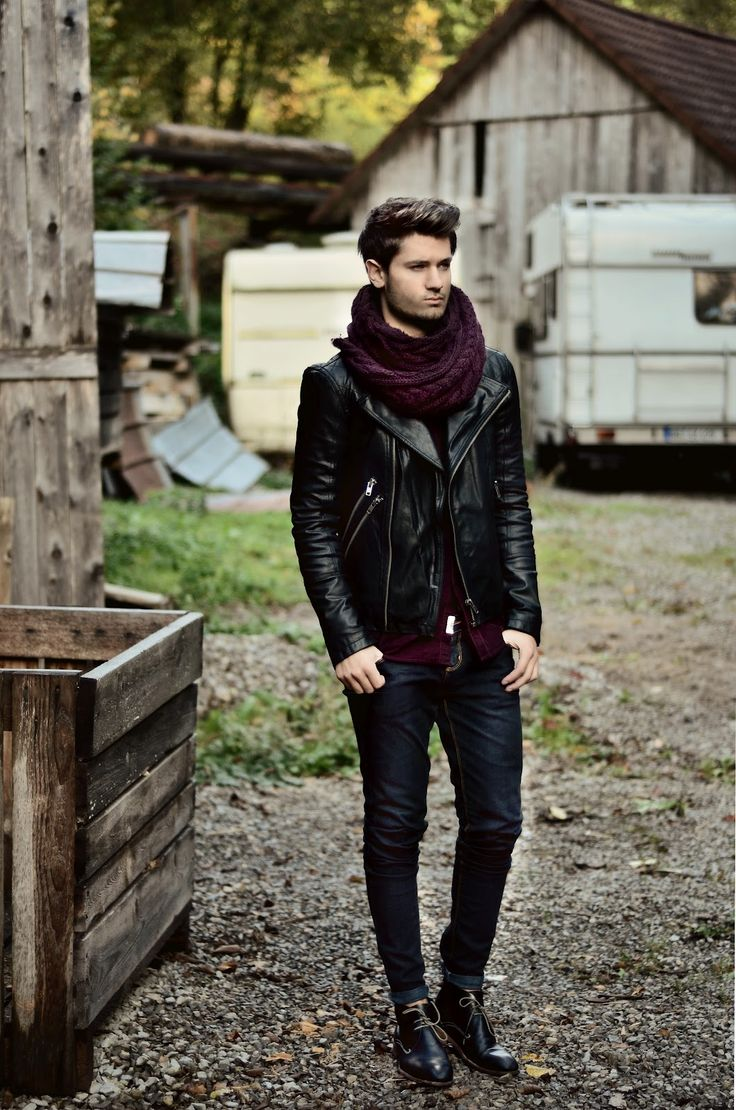 Men's leather jacket, skinny jeans, leather shoes