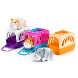Hamster Carrier with Handle and Door - Assorted Color Fits 2 Zhu Zhu Pets by Polyfect. $12.45. Perfect Carrier to take you Zhu Zhu out for a stroll. Let them sleep in the carrier for safe keeping 2 Zhu Zhu pets fit in the carrier Carrier comes with a cute soft plush toy hamster - his big eyes will win your heart!