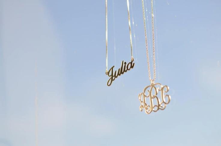 925er Silber Namenskette in Schreibschrift und 750er vergoldete Kette mit Initialen