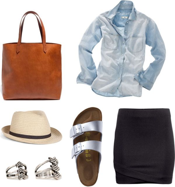 Outfit ideas. Silver metallic birkies sandals. Black skirt. Denim shirt. Fedora. Natural tote. Inspiration to Rock the Birkenstock