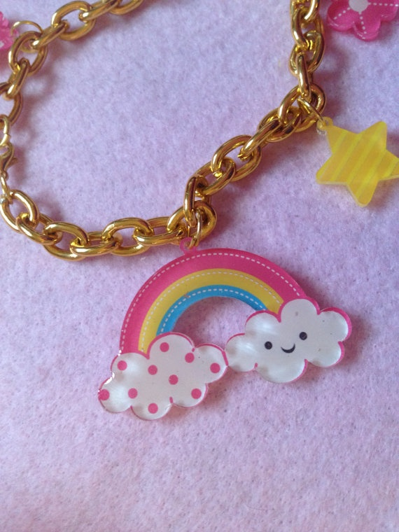 Kawaii Rainbow Cloud And Charms Gold Tone Chain Bracelet by zefora, $12.00