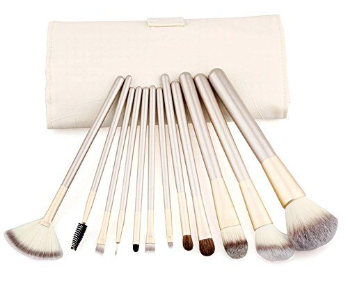 Putwo Make Up Brushes 12 Piece Set with Makeup Kit  White 914 Ounce *** Click image for more details.