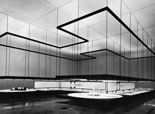 "From the 1961 Milan Fair, view of the hall ""Montecantini Operations in Southern Italy'. Architects, Franco Albini and Franca Helg; designer Bob Noorda. From Graphis 99, 1962."