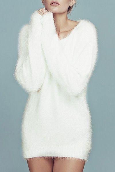 White Mohair V Neck Long Sleeve Jumper WHITE: Sweaters | ZAFUL