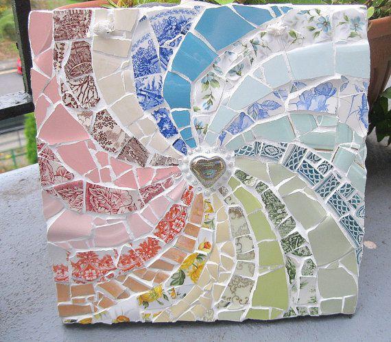 Rainbow heart shabby chic mosaic plaque by carolcapaldicrafts