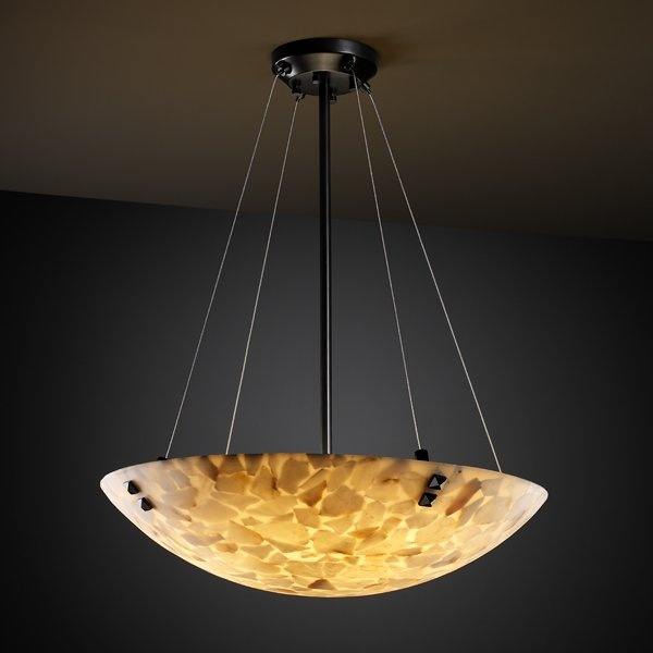 Justice Design Group Alabaster Rocks Pendants Round Bowl Shape In Brushed Nickel Is Made By The Brand And A Member Of