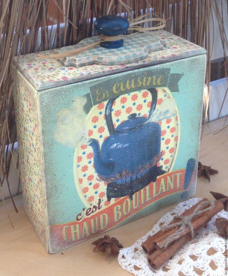 Купить Короб для чая Хорошее начала дня... - голубой, винтажный голубой, чайник чай