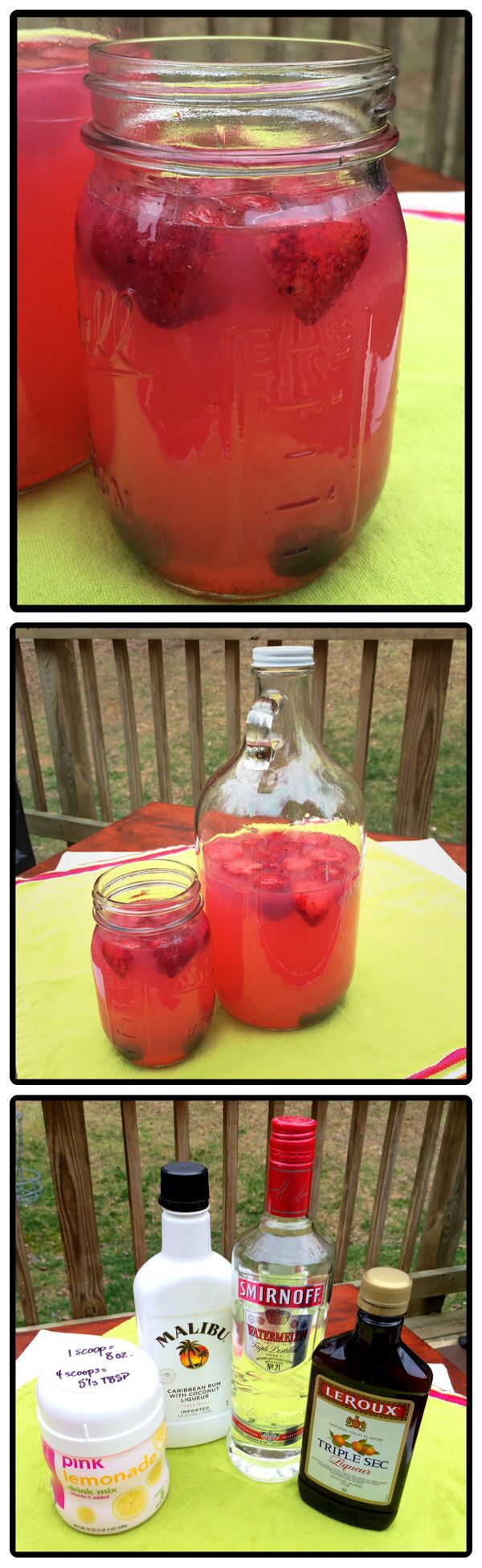 Hippie Juice: watermelon vodka, coconut rum, triple sec and pink lemonade. Click for recipe.