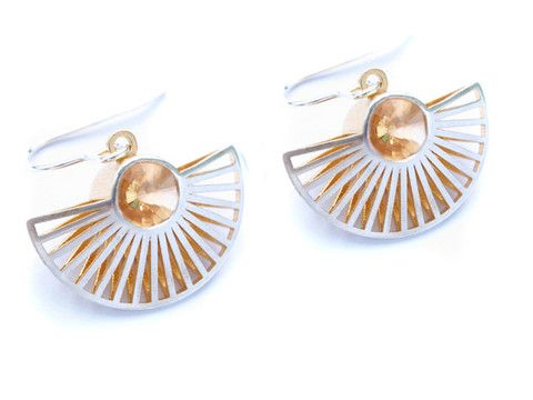 Fan Dangle Earrings - Lynne MacLachlan, Silver, Yellow Gold Plate and Citirine