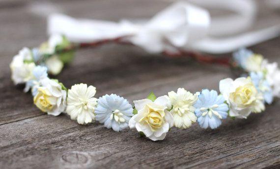 Fleur Ivoire bleu jaune Couronne Boho mariage bandeau cheveux accessoires filles fleur couronne enfant en bas âge Couronne Marguerite mariage naturel Couronne de cheveux