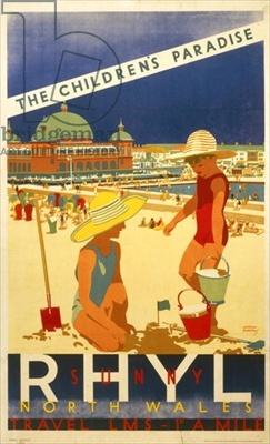 'Sunny Rhyl, The Children's Paradise', poster advertising the London Midland & Scottish Railway, c.1930 (colour litho)