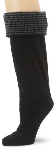 Betsey Johnson Women's Thin Stripe Cuff Knee Length Welly Sock, Black, Medium/large