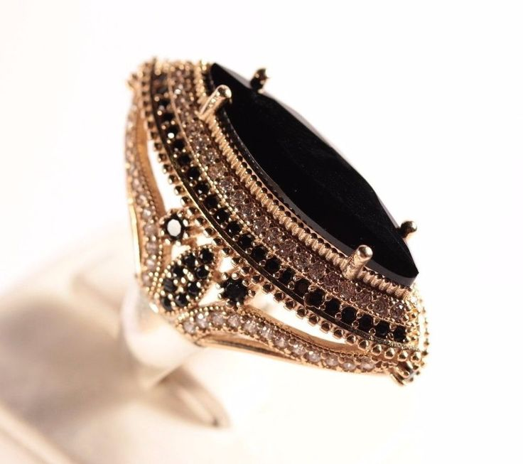 Turkish Jewelry Handmade Black Onyx Topaz 925K Sterling Silver Ring Size 9.25 #Handmade #ottomancollection