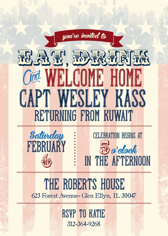 Welcome Home Party Invitation Support Our Troops Bbq Vintage American Flag Design