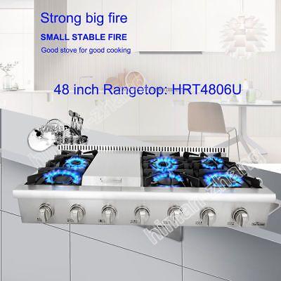 "THOR KITCHEN 48"" Gas Rangetop Cooktop 18000BTU stainless steel Griddle HRT4806U"