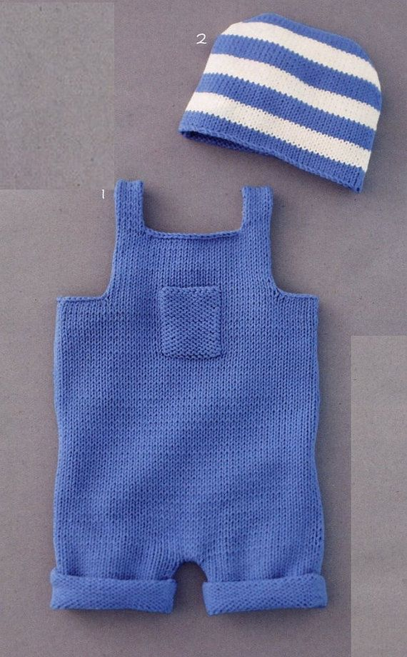ENGLISH Easy Baby Overalls and Hat Beginner Knitting Pattern