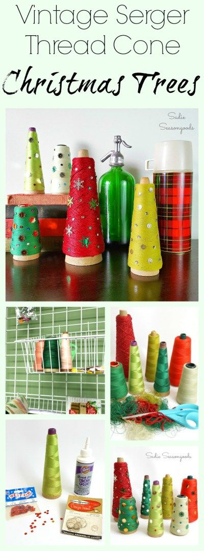 Vintage serger thread cones- the kind used in industrial textile mills in the Carolinas- are found aplenty in antique and thrift stores across the South. Why not repurpose and upcycle the green and red ones into charming, quirky Christmas trees? Add some vintage sequins and you have fun, festive holiday decor in minutes! Another easy DIY craft project from #SadieSeasongoods / www.sadieseasongoods.com