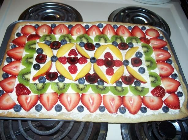 Heather s Fruit Pizza Quick and Simple from Food.com: I make this pizza for family reunions, and everyone loves it. I never bring home any left overs. My friend got me hooked on making these wonderful fresh fruit ideas and this one was the best.