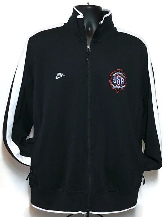 NIKE Sportswear USA Jacket XL Mr Cartoon Collaboration Black Swoosh Logo Team  | eBay