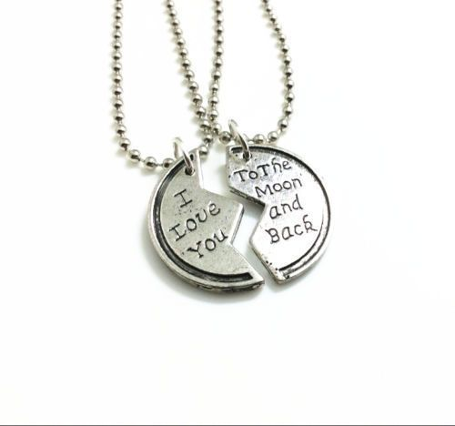 The 25 best couple necklaces ideas on pinterest boyfriend 2pcs couples necklace set i love you to the moon back pendant ball chain mozeypictures Choice Image