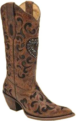 Corral Cognac/Chocolate Goat Crystal Heart Boots