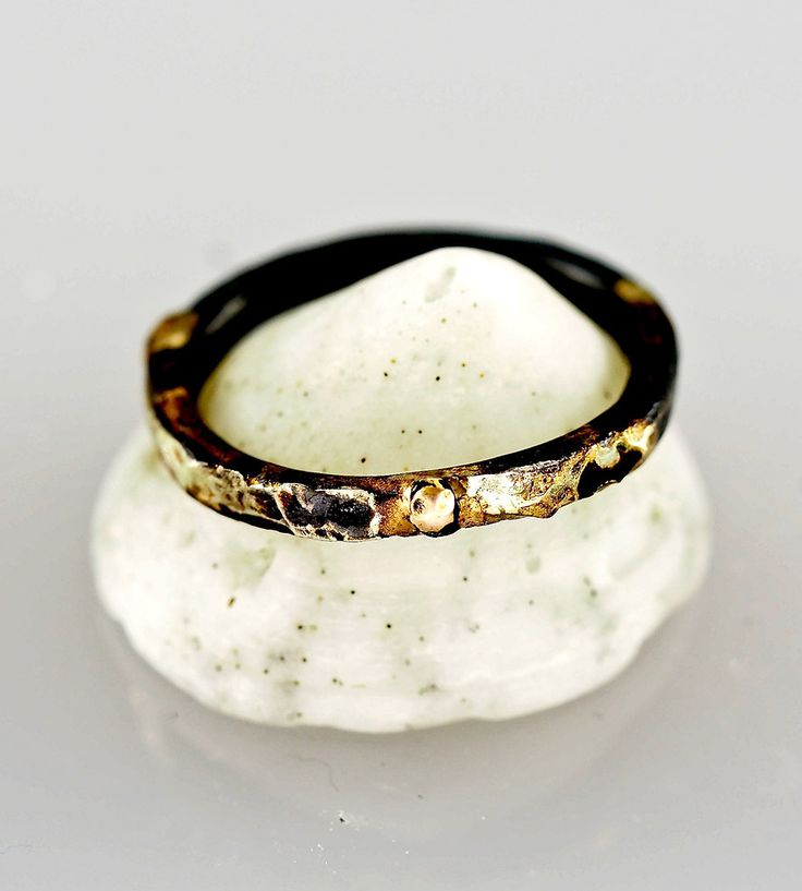"""love the contrast of the bright gold and dark oxidized silver of this band. and that it's called the """"Hot Lava"""" ring. i think it would a romantic gift or a unique wedding band. #handmade"""