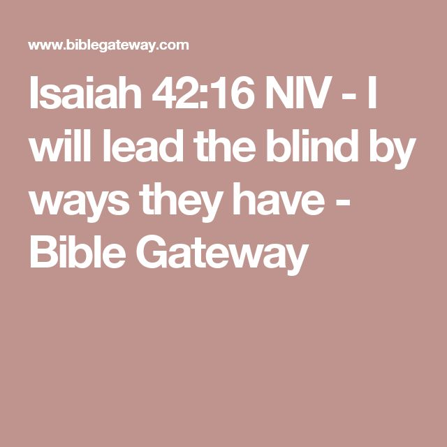 Isaiah 42:16 NIV - I will lead the blind by ways they have - Bible Gateway