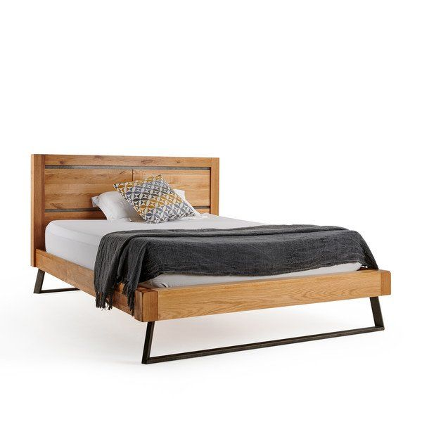 Boston Natural Solid Oak And Metal King Size Bed In 2020 Bed