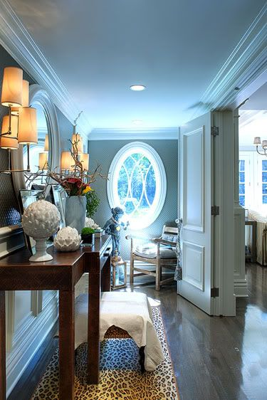 Inviting entry with oval window and pretty doors ~ Elizabeth Kimberly