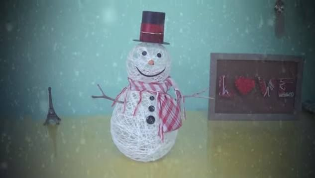 DIY Snowman Idea using balloons, string, starch, & several simple embellishments.