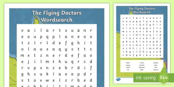 The Flying Doctors Word Search - The Flying Doctors, medical, RFDS, The Royal Flying Doctors, aeromedical,Australia