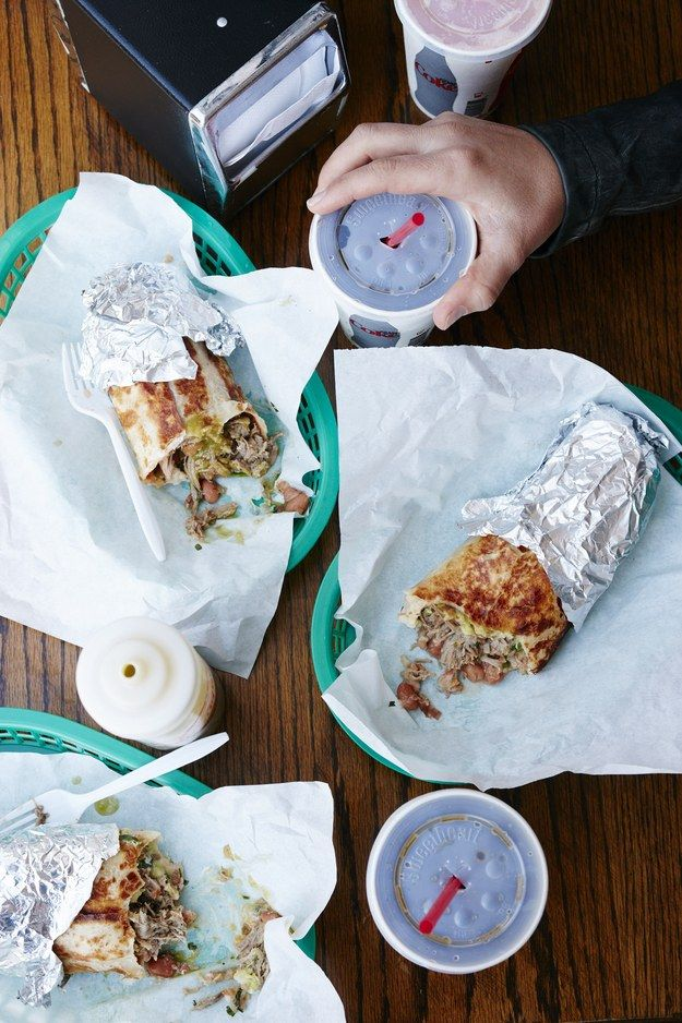 La Taqueria: Try the carne asada burrito (made without rice, it's packed with beef, cheese, guac, pinto beans, fresh salsa, and homemade hot sauce), beef tongue tacos, and corn quesadillas. And don't forget to order a big Styrofoam cup of horchata. #BAcityguides