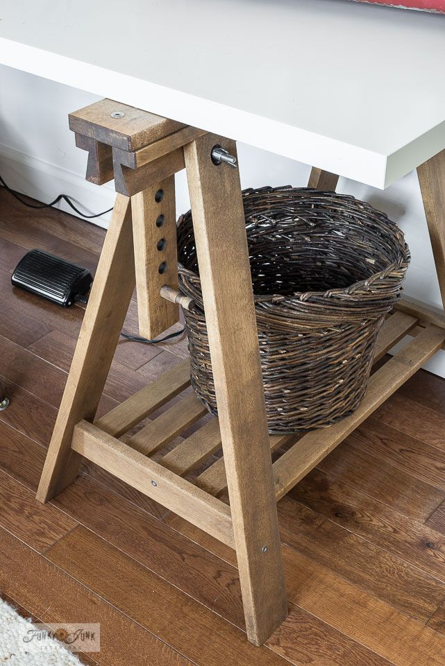 Diy A Rustic Ikea Trestle Sewing Table Or Desk In 2020 Trestle