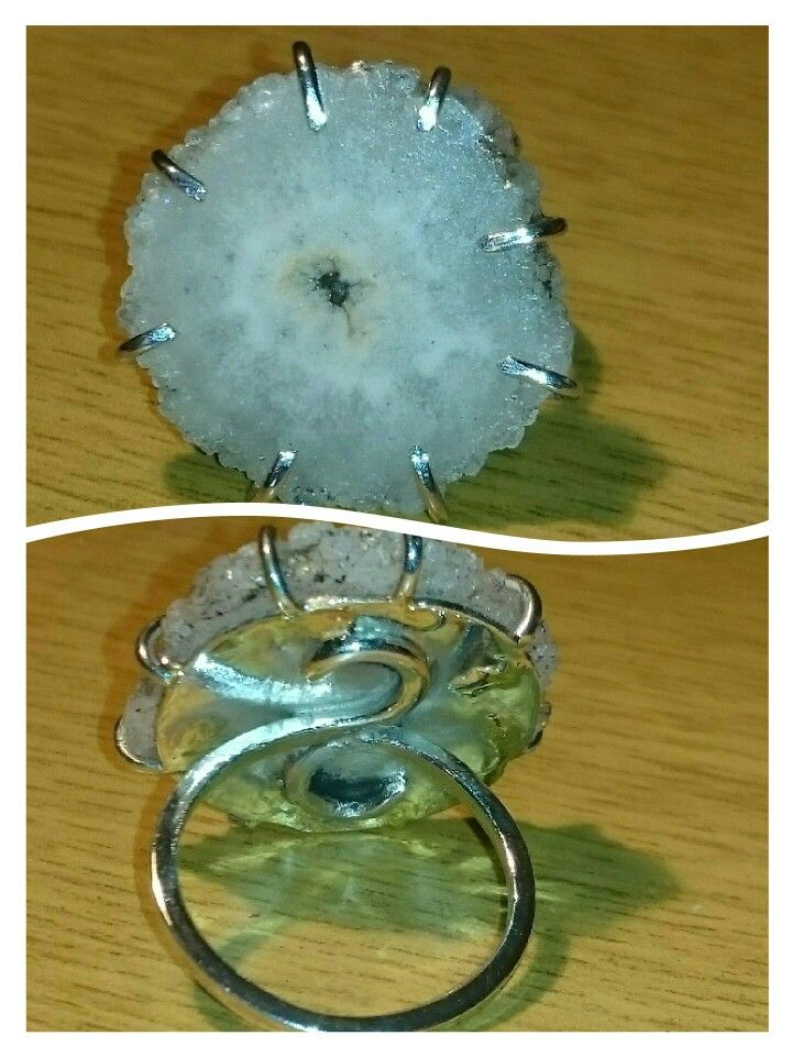 Sterling silver ring with agate stalactite