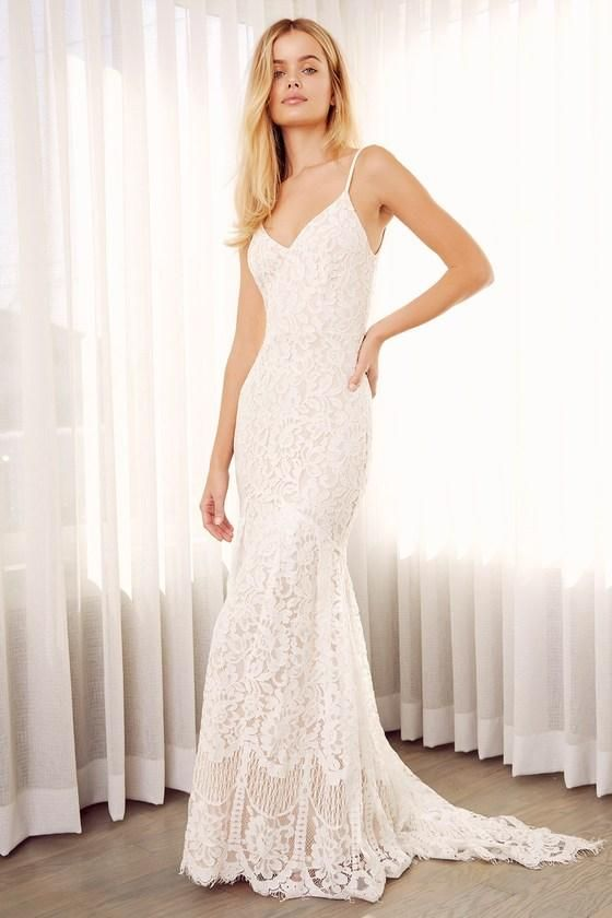 cb3a54b4f65e #falloutfits #AdoreWe #Lulus - #Lulus Flynn White Lace Maxi Dress - Lulus -  AdoreWe.com
