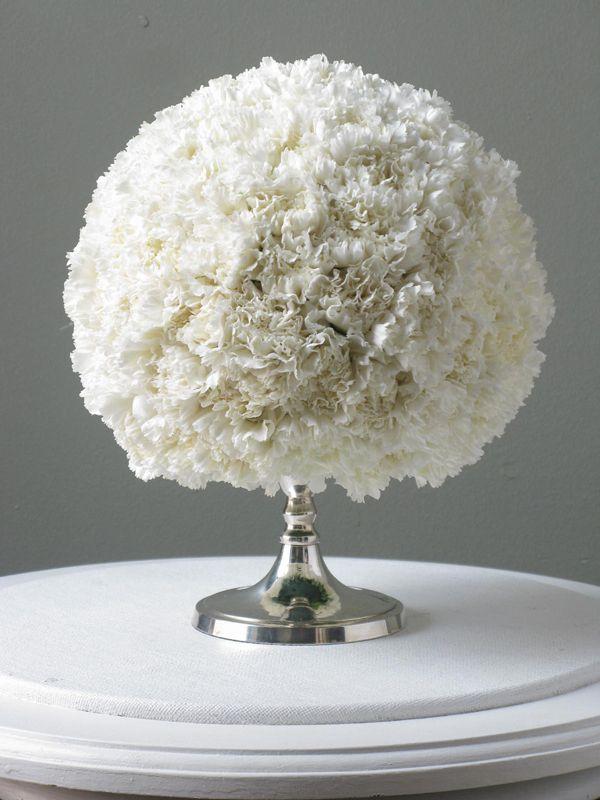 Take that Charlotte York, Carnations are beautiful!: Wedding Ideas, Wedding Flowers, Carnation Ball, Carnation Centerpieces, Center Piece
