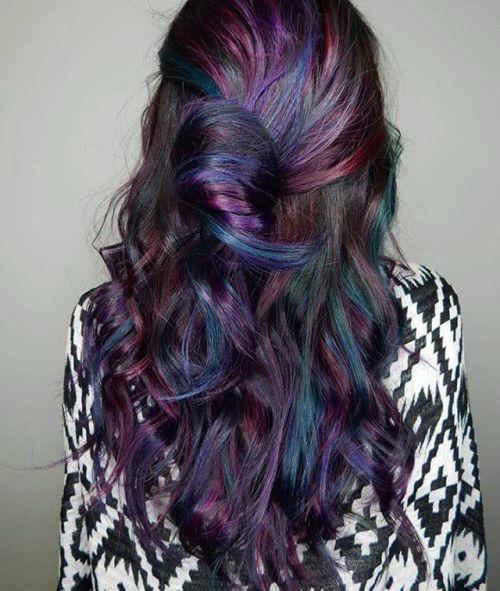Black Hair With Subtle Rainbow Highlights