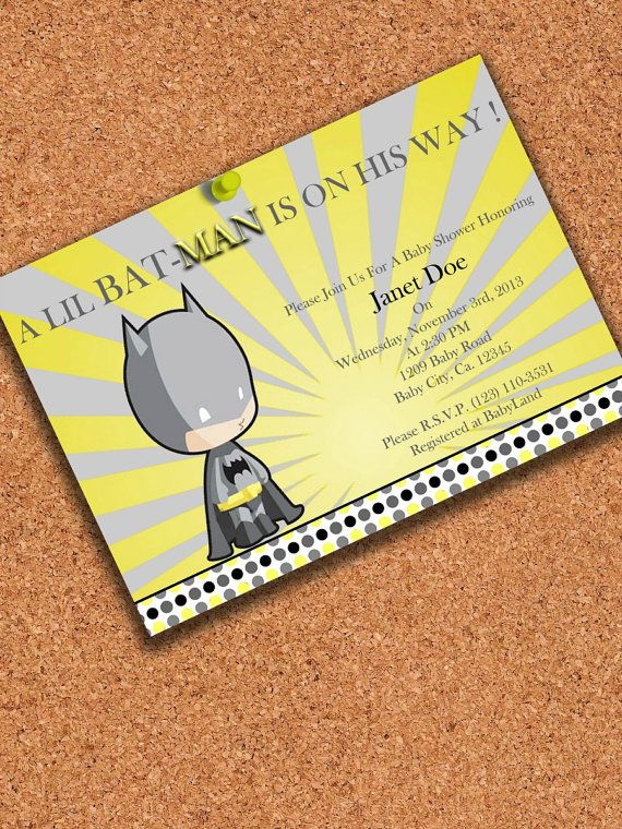 PRINTABLE INVITATION, Little batman Baby Shower invitation , Batman Baby shower