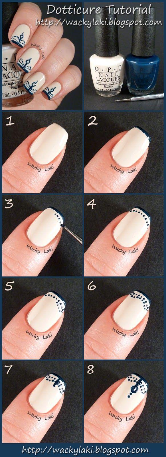 Wacky Laki: Dotticure Tutorial - delicate, feminine dots & funky french tips nail art design