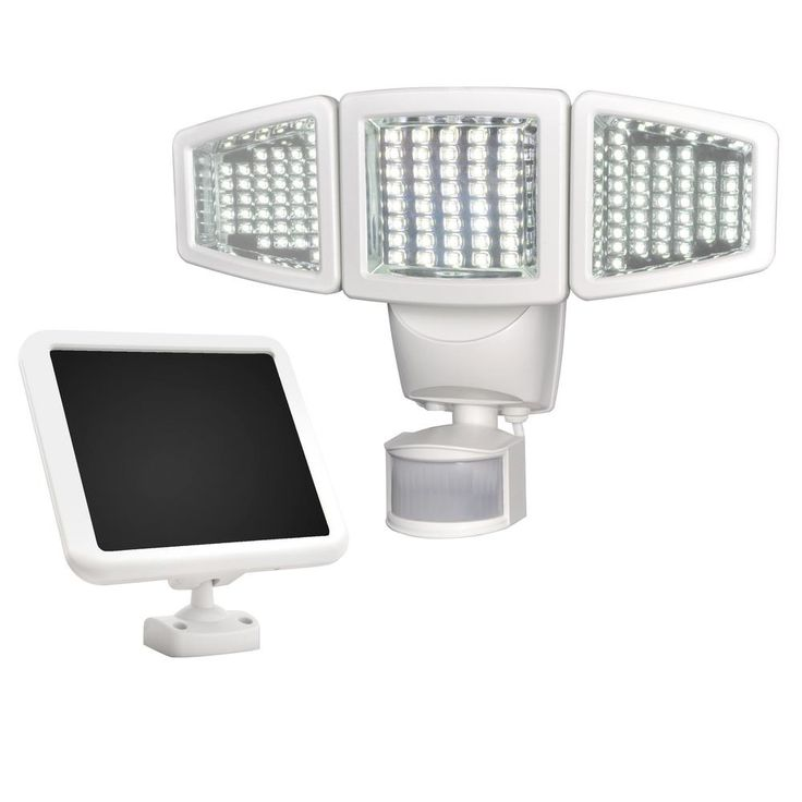 Solar 180-Degree White Motion Activated Outdoor 120 LED Triple Head Integrated LED Area Light