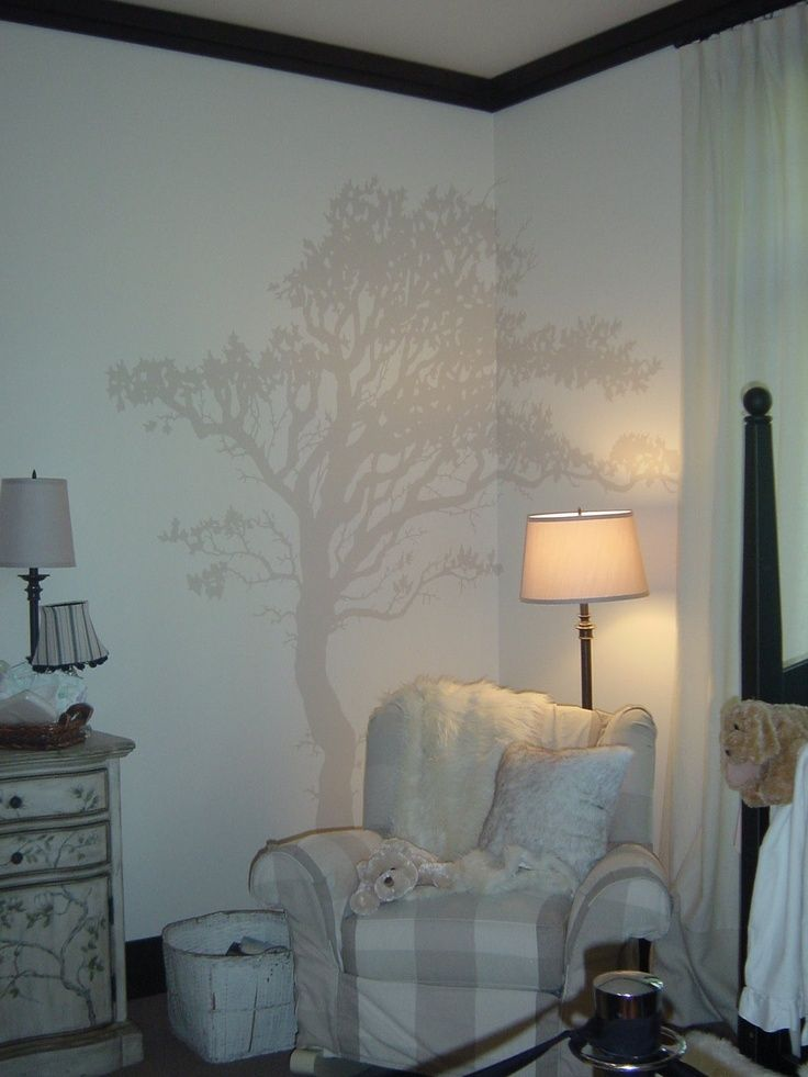 painted tree on wall | accent wall