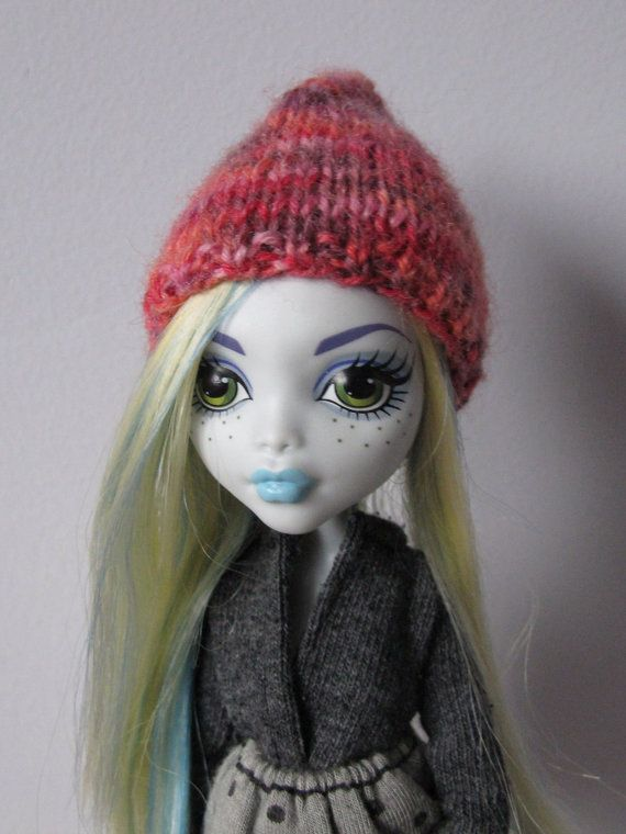 Knitted colorfull hat for lati yellow pukifee monster high and similar size 5'-6' head dolls