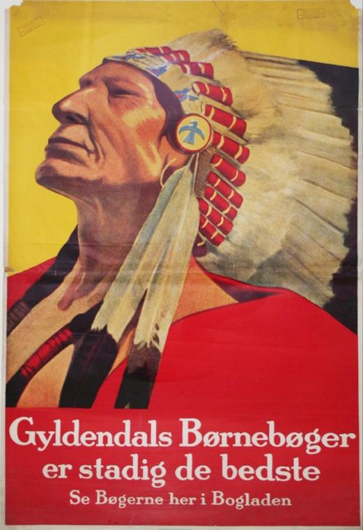 En stolt indianer.     Original retro-plakat fra Forlaget Gyldendals gemmer.